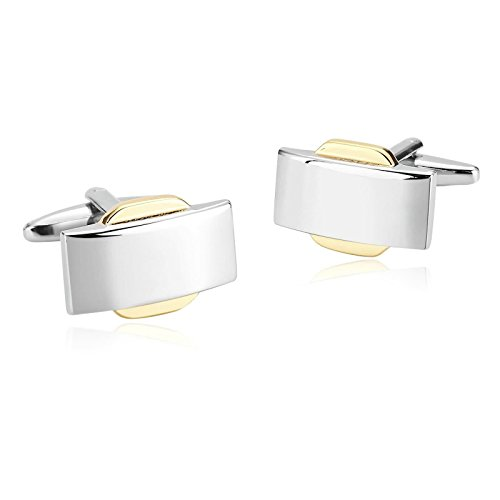Epinki Mens Stainless Steel Silver Gold Rectangle Fashion Arch Shirt Cufflinks for Wedding Business