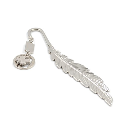 Multifunctional Feather Letter Opener Polished Silver Clover Pendant Bookmark 1Pc