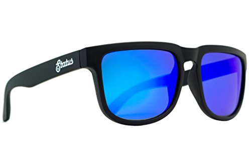 Status Shades Men's Wayfarer Plastic Polarized Solid Black / Deep Sea - Status Shades
