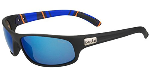 Bolle Wrap Around Sunglasses - Bolle Anaconda Sunglasses, Medium/Large, Polarized Offshore Blue Oleo AR, Matte Black/Stripes