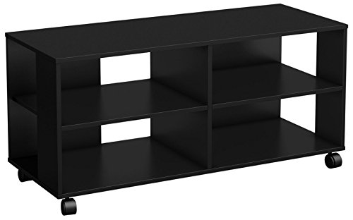 Jambory TV Stand Storage Unit on Casters - Fits TVs Up to 48'' Wide - Pure Black - By South Shore