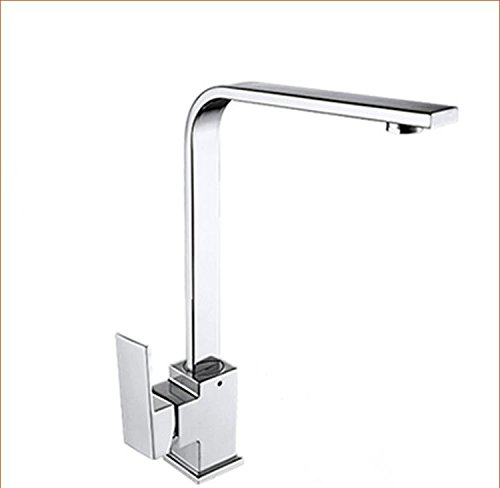 WINZSC Copper unleaded faucet single hole square kitchen hot and cold faucet sink sink swivel faucet