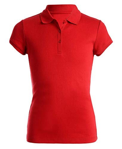 Nautica Girls' Toddler School Uniform Short Sleeve Pique Polo, Red, 4T