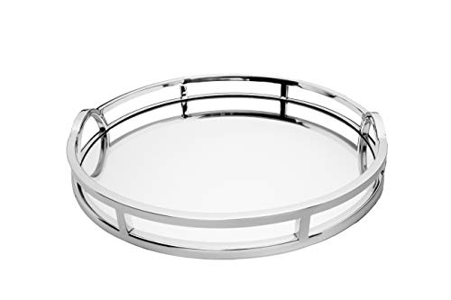 Le'raze Mirrored Vanity Tray, Decorative Round Tray with Chrome Handles for Display, -