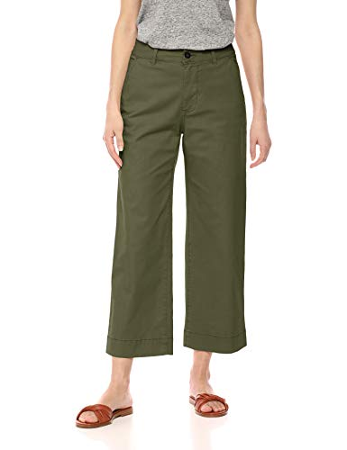 Amazon Brand - Daily Ritual Women's Washed Chino Wide Leg Pant, Olive, 14 (Best Work Clothes Brands)
