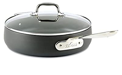 All-Clad E7853364 HA1 Hard Anodized Nonstick Dishwasher Safe PFOA Free Saute Pan Cookware, 4-Quart, Black