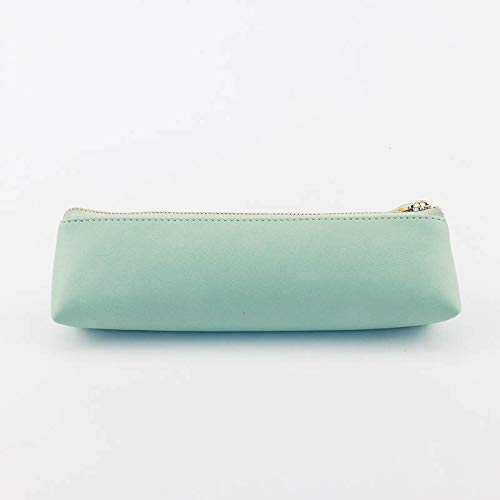 - Simple Leather Triangle Pencil case, Solid Color Zipper Stationery Bag, Student Creative Pencil case Cyan