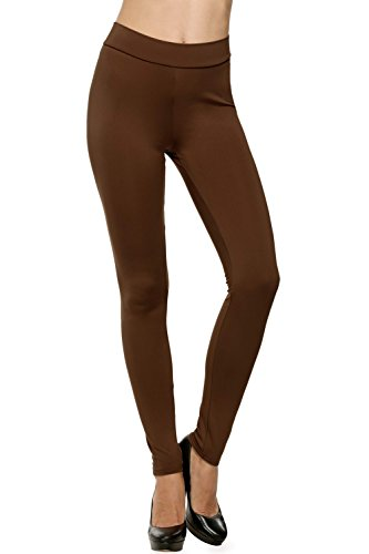 Avidlove Women Full Length Trousers Stretch Waist Leggings Skinny Pencil Pants Thick Brown