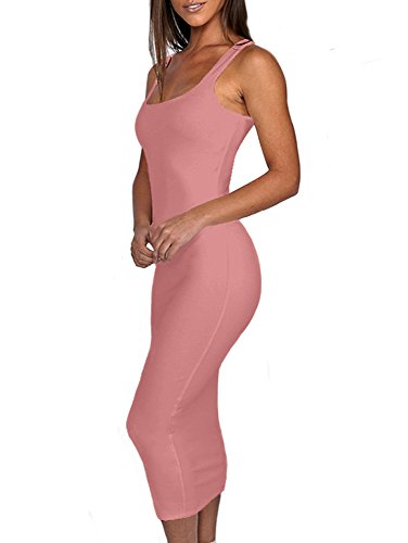 Long BEAGIMEG Tank Dark Basic Bodycon Solid Pink Sleeveless Women's Dress Casual HHq0nrAE