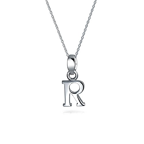 Bling Jewelry Block Letter R Sterling Silver Initial Pendant Necklace 18in