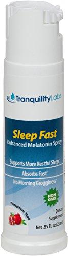 Fast Sleep mélatonine pulvérisation Blend Avec B6, racine de valériane, camomille, mélisse et 5-HTP pour Calmant naturel - 32 Nuit Supply (25ml) - fonctionne plus rapidement que les somnifères - Combats Jet Lag. Le pire cauchemar de l'insomnie!