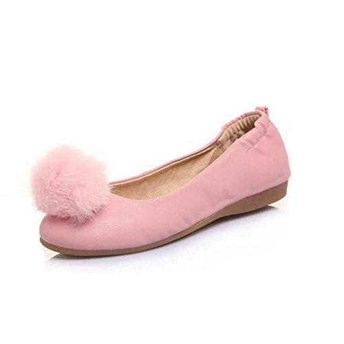 AmoonyFashion Womens Pull-on No-Heel PU Solid Round Closed Toe Flats-Shoes Pink qLugX