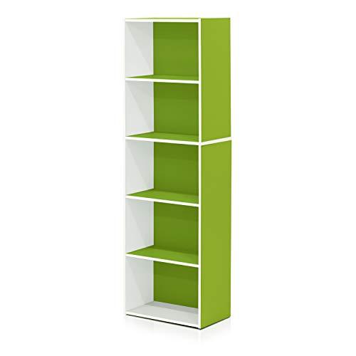 Furinno 5-Tier Reversible Color Open Shelf Bookcase , White/Green -