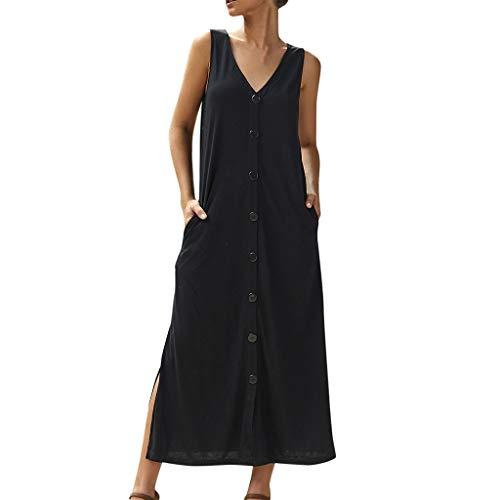 Kaniem Womens Summer Fashion Sexy V Neck Botton Down with Pocket Split Side Maxi Dress (S, Black) ()