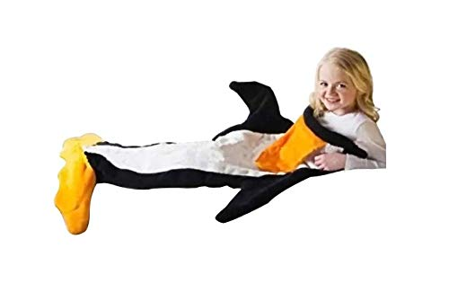 Penguin Blanket Polar Fleece Fabric Blanket Flannel Comfy for Kids and Teens All Seasons Sleeping Bags (Ages 3-12)