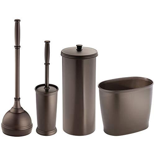 mDesign MetroDecor Toilet Bowl Brush, Plunger/Toilet Paper Holder/Oval Wastebasket Trash Can, Bronze, Set of 4