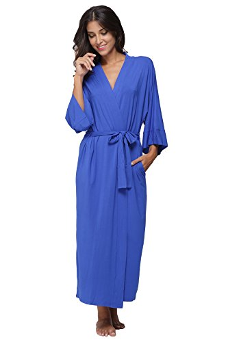 KimonoDeals Women's dept Soft Sleepwear Modal Cotton Wrap Bathrobe Long Kimono Robe, Royal M