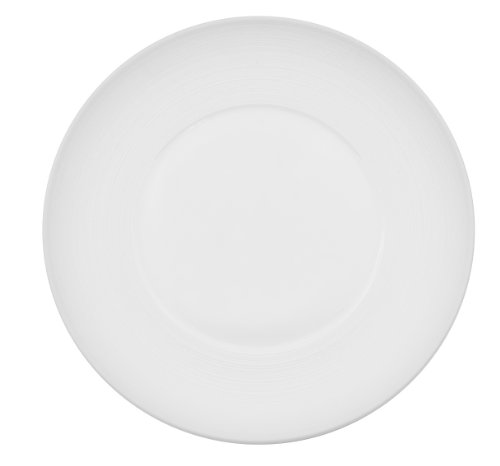 CAC China TST-W6 Transitions 6-1/4-Inch Non-Glare Glaze Super White Porcelain Wide Rim Plate, Box of 36 by CAC China