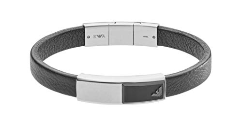 Emporio Armani Leather Logo Accented Stainless Steel & Black Onyx Plaque Bracelet EGS2288040