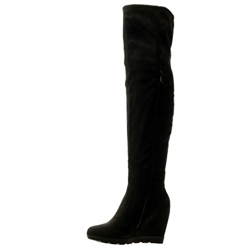 Angkorly - Zapatillas de Moda Botas Altas Botas flexible mujer strass Talón Plataforma 12 CM - Negro