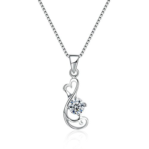 Aokarry S925 Silver Necklace for Women Girls Mothers Hollow White Chain Length: 40+4CM 14k Engraved Pocket Watch