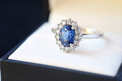 Ceylon Blue Sapphire Engagement Ring Sapphire Ring Diamond Halo Oval Cluster September Birthstone Blue Gemstone Ring Princess Diana Ring Blue Wedding Ring ()