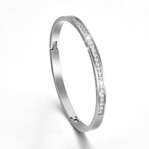 XIUDA Father's Day Women Cuff Bracelet Bangle Stainless Steel with Zircon Brushed Matte ()