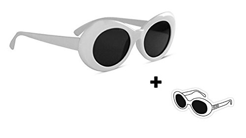 Clout Goggles with Sticker HypeBeast Oval Sunglasses Mod Style Kurt Cobain - Oval White Sunglasses