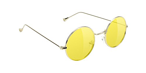 Glassy Mayfair Round Retro Lennon Sunglasses in Gold w/Yellow Lenses ()