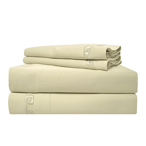 600 Thread Count Long-Staple Combed Cotton, Deep Pocket, Single Ply, Queen Bed Sheet Set, Embroidery Greek Key, Sage ()
