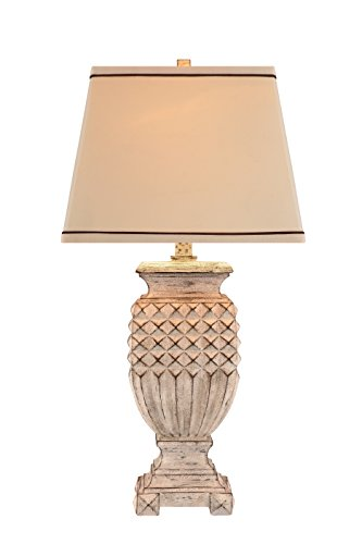 Catalina Lighting 19097-001 Traditional 3-Way Antique Looking Table Lamp with Hardback Linen Shade, LED Bulb Included, 32