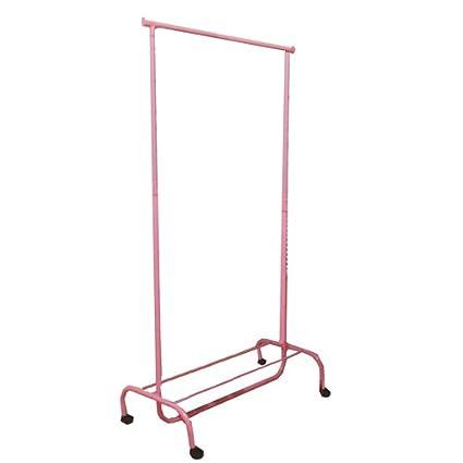JVL - Perchero Ajustable con Ruedas (43 x 83 x 108 cm), Color Rosa