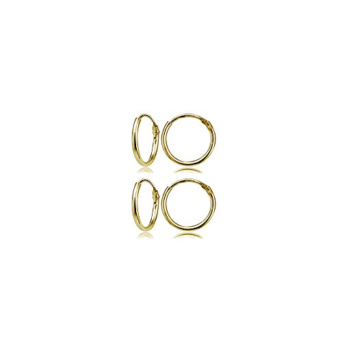 (Set of 2 Pairs Yellow Gold Flashed Sterling Silver Small Endless 10mm Lightweight Thin Round Unisex Hoop)
