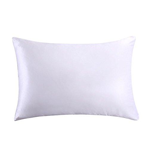 MEILIS 100% Pure Silk Satin Pillowcase for Baby Travel Sized Pillows,Hypoallergenic Pillow Shams Cover ,White