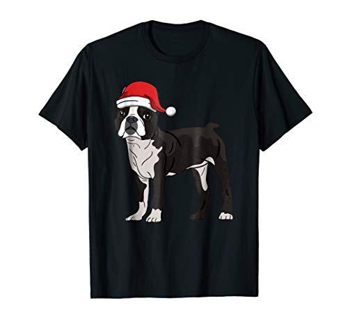 (Mens Boston Terrier in Santa Hat Christmas Pajama T-Shirt Large Black)