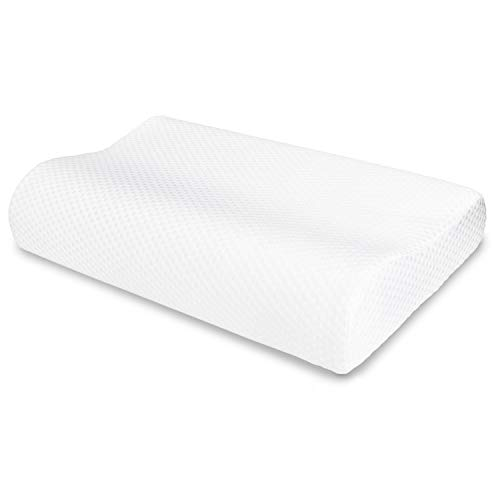 VECELO Memory Foam Contour Pillow, for Side Sleeper-Relieve Neck Pain with Washable Zippered Soft Cover-Standard Size for Adult & Children, White ()