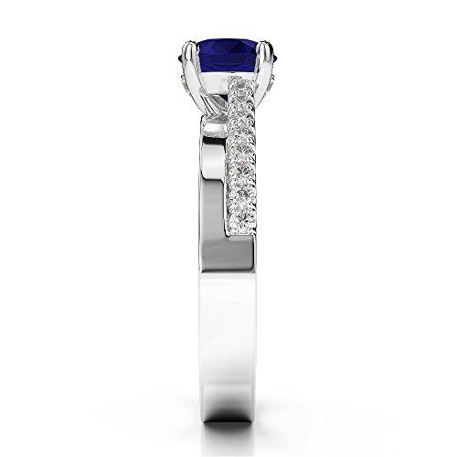 G-H/VS 1.04CT Coupe ronde sertie de diamants et saphir Bague de fiançailles en platine 950Agdr-1206