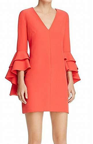 MILLY Women's Cady Ruffle Dress, Cherry, 4