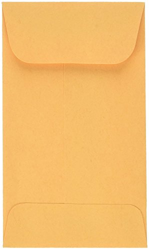 # 5 1/2 Coin Envelope Brown Kraft 3 1/8 x 5 1/2 inches Perfect for Storing Small Parts, Coins, Jewelry, Stamps, Seeds and beeds 100 envelopes per Pack