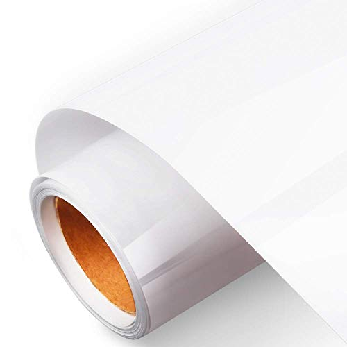 Branger Heat Transfer Vinyl HTV Rolls for T Shirts 12in x 5ft, Permanent Adhesive Iron on HTV Vinyl Bundle Roll for Craft DIY, Easy to Cut & Weed, Compatible with Cameo Silhouette & Cricut (White)]()