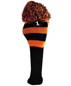 MAJEK #1 460cc Driver Black & Orange Golf Headcover Knit Pom Pom Retro Classic Vintage Head cover