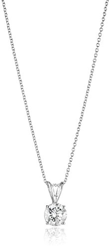 14k White Gold 16'' Adjustable to 18'' 4-Prong Set Round-Cut Diamond Pendant (3/4 cttw, J-K Color, I2-I3 Clarity) by Amazon Collection