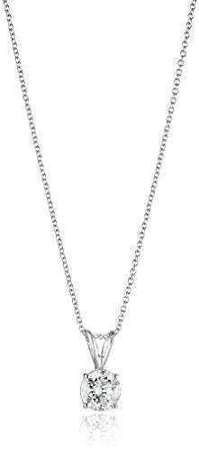 "14k White Gold 16"" Adjustable to 18"" 4-Prong Set Round-Cut Diamond Pendant (3/4 cttw, J-K Color, I2-I3 Clarity)"