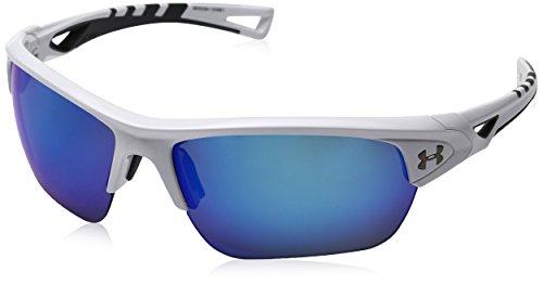 (Under Armour Eyeking Men's Wrap UA Octane Shiny White/Charcoal Frame/Gray/Blue Multiflection Lens, M/L)