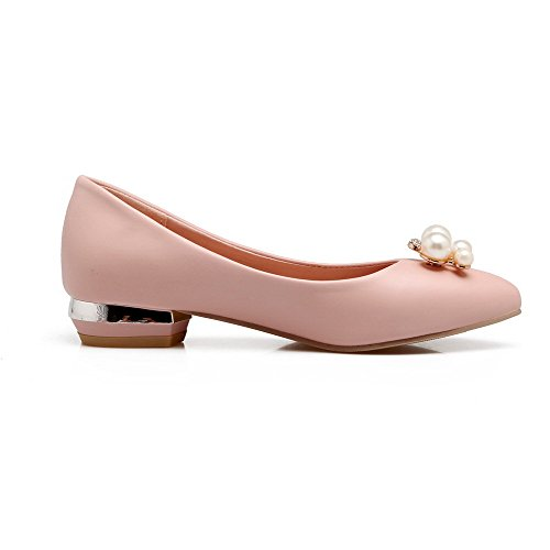 VogueZone009 Damen Weiches Material Ziehen auf Rund Zehe Niedriger Absatz Pumps Schuhe, Pink, 42