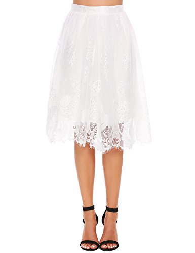 Zeagoo Women High Waist Lace Floral Midi Skirt Extender with Lace Trim, White, X-Large ()