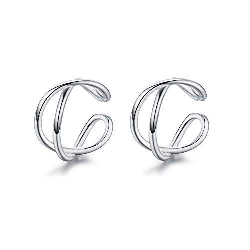 925 Sterling Silver Multi Circles Cuff Clip On Earrings for Women Teen Girls Cartilage Wrap Non Pierced Ear Hypoallergenic (Knot -