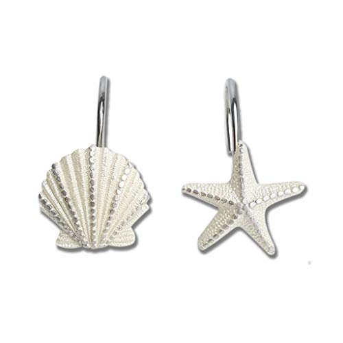 VCO Connections Set of 12 Shower Curtain Hooks Starfish Shell Conch Style Shower Curtain Hangers Resin & Stainless Steel Rustproof Ocean Theme Ring Hook Hanger Pothooks (Starfish & Shell 2 in 1)