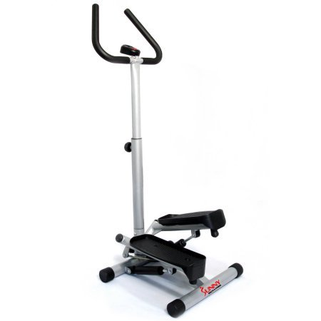 New Sunny Health and Fitness Steel Twist Stepper with Handle Bar and Tones Buttocks and Thighs, Adjustable Stepping Height, Heavy-duty Steel Construct