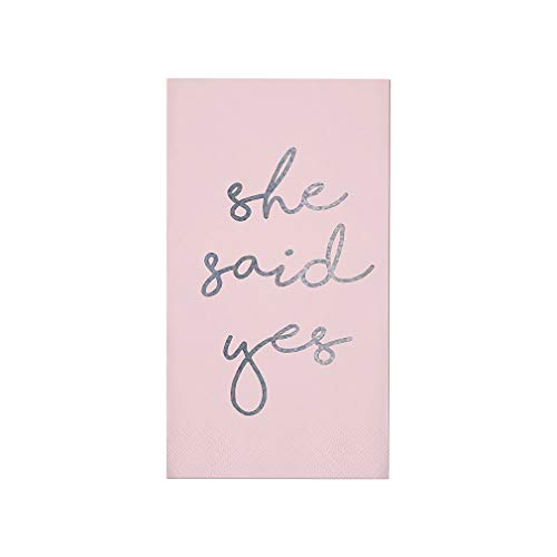 She Said Yes Engagement Soft Pink and Silver 8 x 4 Paper Guest Towel Pack of 16 -